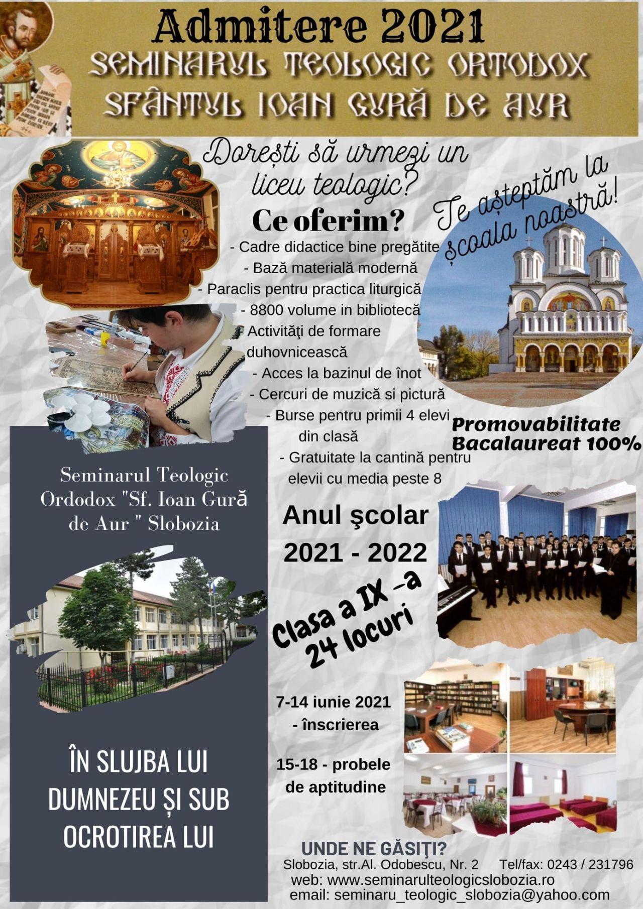 Noul calendar de admitere la Seminarul Teologic Ortodox Sfântul Ioan Gură de Aur Slobozia